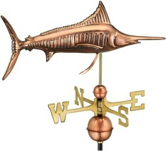 Good Directions Outdoor Marlin Weathervane 32 in. H Roof Mount Pure Copper - $221.12