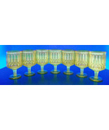 Prisms Loops Canary Yellow Pressed Juice Glass Goblet (s) LOT OF 7 - $59.35