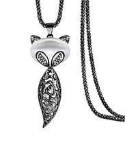 Elegant Fox Shaped Pendant Necklace Shining Crystal Pendant Necklace