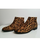 Women's Leopard Animal Print Boots NEW Time and Tru Zipper Memory Foam - $16.99