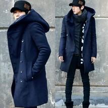 Menswear winter coat long coat slim hooded windbreaker thickening - $79.36
