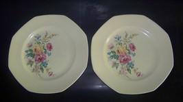 Vintage Homer Laughlin 9 Inch Plates - 2 Plates Stamped B 37 N 8 - Floral Design - $29.95