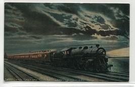 Twentieth Century Limited Railroad Leaving Chicago IL at Night 1910c pos... - $6.44