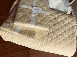 Pottery Barn Belgian Linen Quilt Set Pineapple Yellow Queen 2 Euro Sham Diamond - $258.00