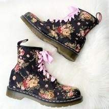 Dr. Martens Floral 8 Eye Combat Boot Floral Canvas Lace Up Shoe Women's ... - $96.04