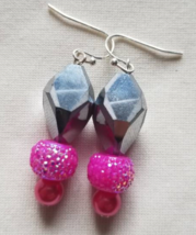 Silver Earrings, Beaded Pink Earrings, Silver Hook Dangles, Earring Hooks, Pink  - $6.00