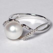 Womens Diamond Cultured Pearl Solitaire Designer Ring 18K White Gold - $499.00