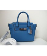 New Coach Pebble Leather Swagger 21 Lapis Blue Satchel Handbag 37444 - $217.80