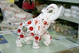 "8"" White Marble Elephant Statue Carnelian Inlay Floral Arts Hallway Deco... - $291.86"