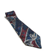 """Christian Dior Mens Tie Polyester Red Blue Paisley Striped Neck 58"""" Long... - $11.87"""