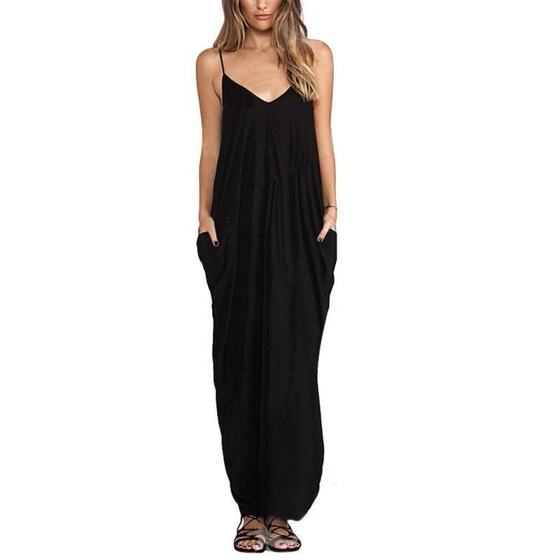 Women Sexy Sling V neck Dress Long Beachwear Spaghetti Strap Sundress Maxi Cockt