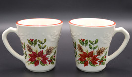 Longaberger Nature's Garland * 2 MUGS / CUPS * Christmas Poinsettias, Excellent - $24.99