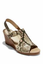 Cole Haan Women Slingback Wedge Sandals Philomina Beige Python Print Leather - $33.85