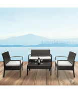 Outdoor 2pcs Arm Chairs 1pc Love Seat & Tempered Glass Coffee Table Ratt... - $264.98