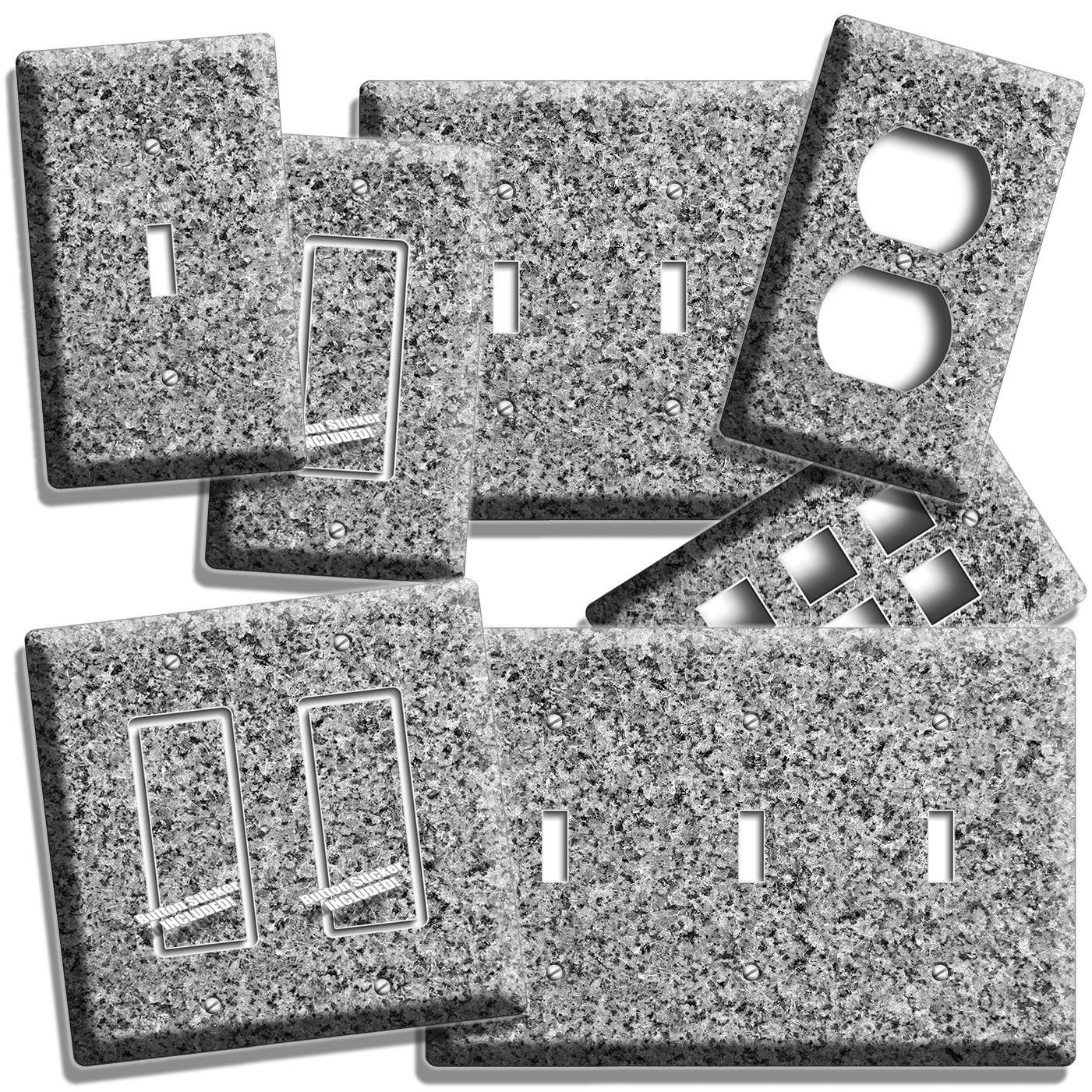 GRAY GRANITE LOOK LIGHT SWITCH OUTLET WALL PLATE ROOM ART KITCHEN BATHROOM DECOR - $10.99 - $22.99