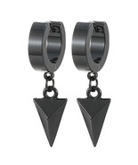Black Dangling Triangle Pyramid Huggie Hinged Earrings for Men Stainless... - $34.15