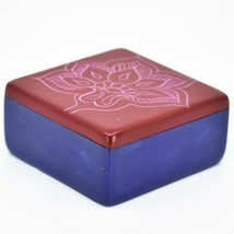 "Vaneal Group Hand Carved Kisii Soapstone Red & Blue Floral Flower 3"" Trinket Box image 2"