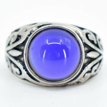 Vintage Inspired Silver & Black Painted Color Changing Round Cabochon Mood Ring image 6