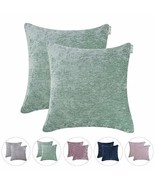 Hahadidi Pack of 2 Cozy Decorative Throw Pillow Cover Farmhouse Square P... - £12.10 GBP