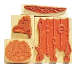 NEW! Fishing Stamps, Set of 4, Rubber Mounted on Wood image 2