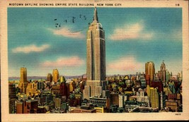 LINEN POSTCARD- MIDTOWN SKYLINE SHOWING THE EMPIRE STATE BUILDING, NYC ,... - $2.45