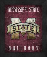 "Mississippi State Bulldogs ""Retro College Logo Map"" 13x16 Framed Print  - $39.95"