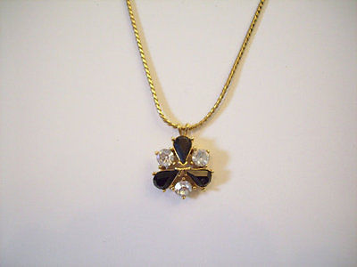 Vintage Trifari Rhinestone Pendant Necklace Clear Jet Black Gold Plate Chain