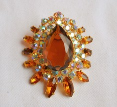 Vintage Juliana brooch large open back teardrop topaz rhinestone ab multi - $42.56