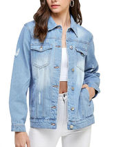 Women's Classic Casual Cotton Lightweight Distressed Denim Button Up Jean Jacket image 4