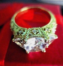 Judith Ripka Gold-clad Sterling Three Stone Diamonique Ring Size 6 Ring ... - $149.95