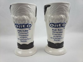 Oreo Cookie Milkshake Glass Ice Cream Float Ceramic Mug Recipe Set of 2 ... - $22.98