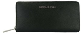 Michael Kors Purse Zip Around Wallet Black Large Saffiano Leather - $226.76