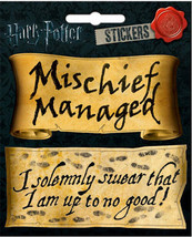 Harry Potter Mischief Managed and I Solemnly  Swear 4 x 4 1/2 Inch Sticker - $2.95