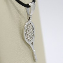 18K WHITE GOLD TENNIS RACKET PENDANT, CHARM, 20 mm, 0.8 inches, MADE IN ITALY image 2