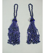 2 Large Cluster Cobalt Blue Beads Beaded Tassel Lamp Fan Charm Jewels 10... - $19.75