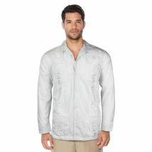 Men's Beach Guayabera Casual Cuban Wedding Button-Up Long Sleeve Dress Shirt image 5