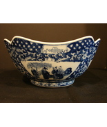 Blue and White Porcelain Oriental Bowl - Interesting Scenes - Unique Sh... - $16.90