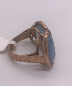 Hammered Double Ring .925 Sterling Silver Rose Gold Filled with Aquamarine