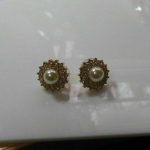 Vintage Faux Pearl & Rhinestone Pierced Earrings - $16.82