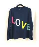 Crown & Ivy Womens Sweater Love Novelty Crew Neck Cotton Blend Navy Blue M - $19.34
