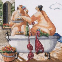Design Works Bathing Beauties Counted Cross Stitch Kit, bath time couple, aida - $21.99