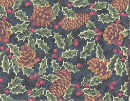 Thimbleberries Christmas Street Holly Pinecones Blue Fabric OOP 1 YARD RJR - $19.55