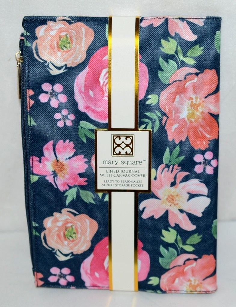 Mary Square 20337 Lined Journal Vintage Floral Canvas Cover With Zip Up Pocket