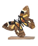 Butterfly Table Top Decor Intarsia Wood Art Figurine New - $36.58