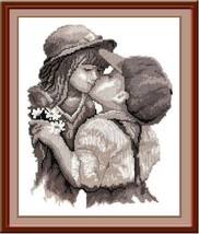 Cross Stitch Kit Hand Embroidery Kiss Children People - $28.90