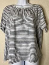 Talbots Womens Size L Blue Striped Blouse Short Sleeve Bowtie - $16.83