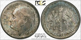 1962 U.S.A. Dime PCGS MS64FB Turquoise Toned Coin - $19.92