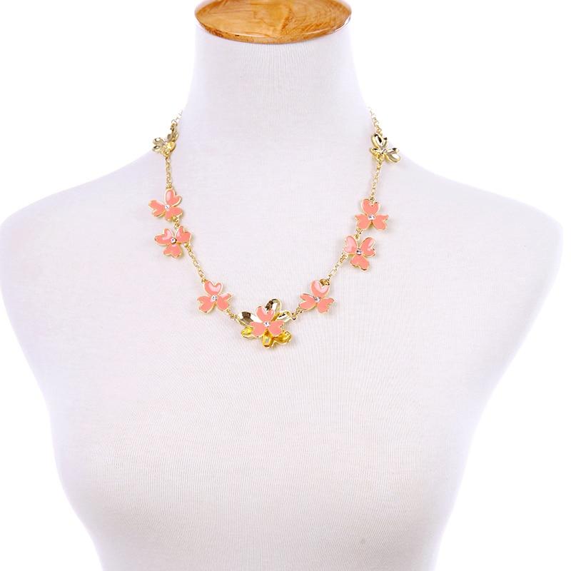Fashion necklaces for women 2016 new design orange flowers short necklace kpop fashion jewlery 2