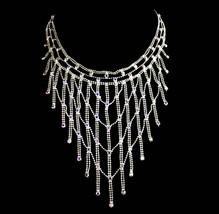 Dramatic Fringe necklace - blue aurora borealis rhinestones - silver Daz... - $65.00
