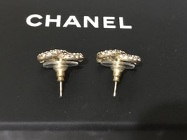 AUTHENTIC CHANEL GOLD RARE CC LOGO CRYSTAL STUD EARRINGS MINT image 6